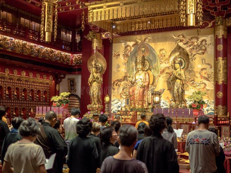 Singapur, Nov - 24, 2018: Buddha z?bu relikwii muzeum w Chinatown okr?gu i ?wi?tynia Buddha z?bu relikwii ?wi?tynia jest a zdjęcie stock