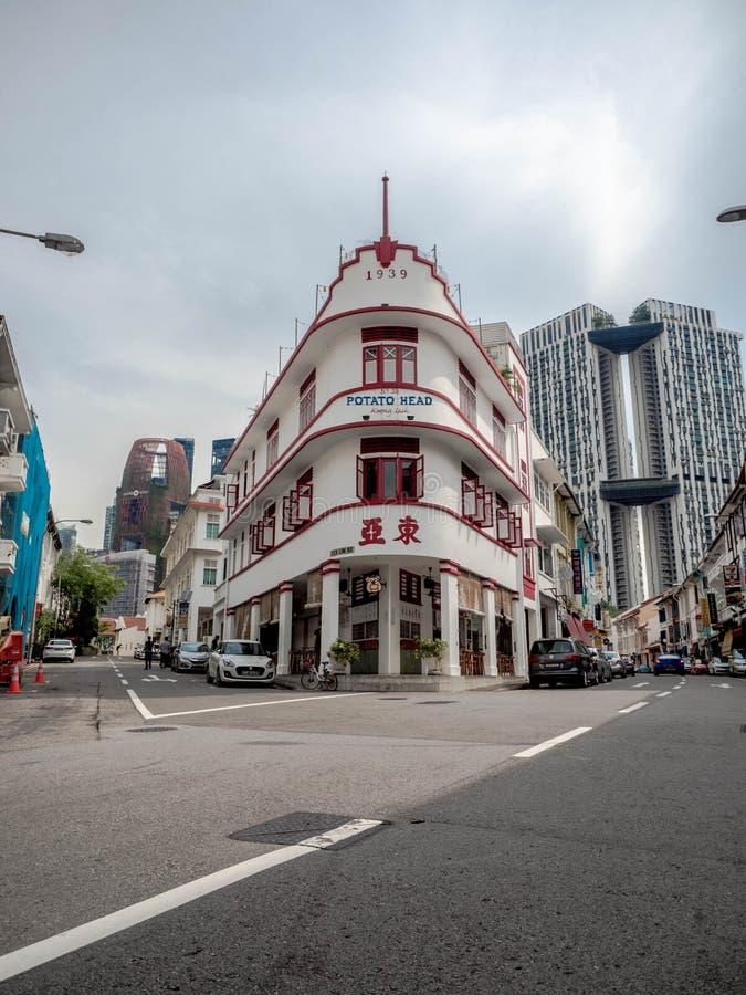 SINGAPUR - 25. November 2018: Kartoffelhauptvolksrestaurant und im altem Stil Geb?ude auf Keong Saik-Stra?e, der Gesch?fts--house stockfotos