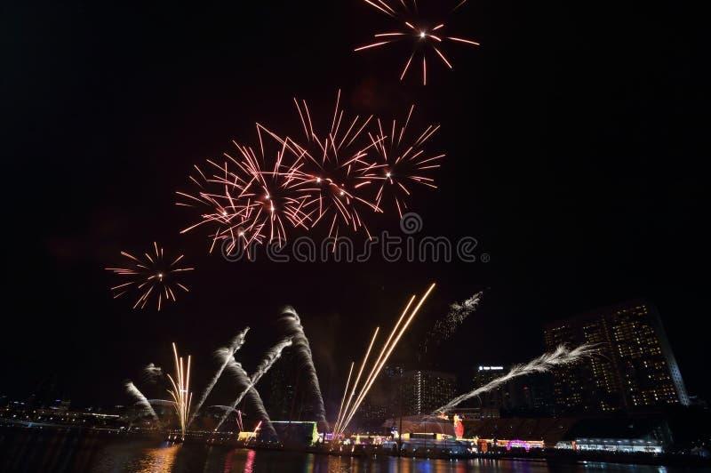 Singapur nowego roku Chińscy fajerwerki fotografia royalty free