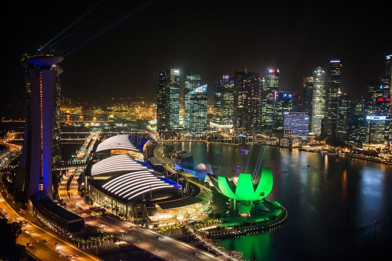 SINGAPUR - 29 Październik: Odgórny widok Marina zatoka fotografia royalty free