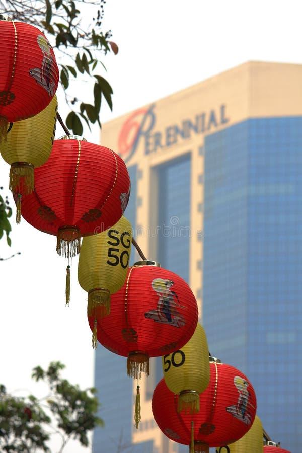 Singapur, Październik 16th 2015 -: Arymaże wiesza w drzewach Singapur Chinatown sąsiedztwo podczas Krajowej parady obraz royalty free