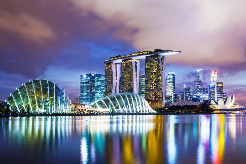 Singapur pejzaż miejski w zmierzchu obrazy royalty free