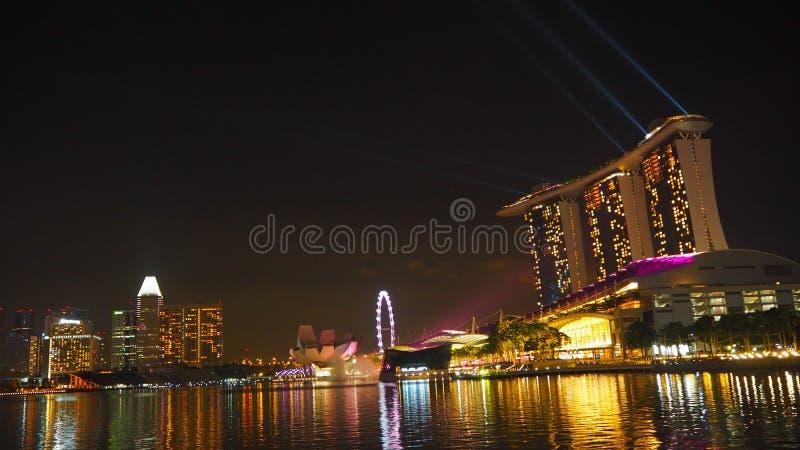 Singapur przy nocą zdjęcia royalty free
