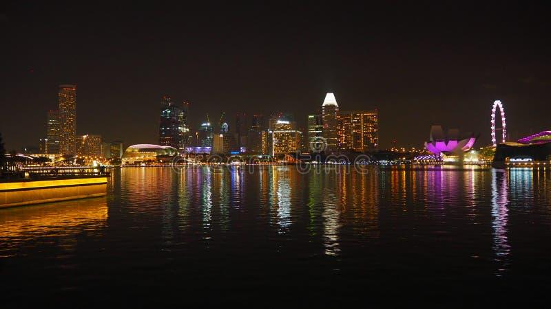 Singapur przy nocą obraz stock