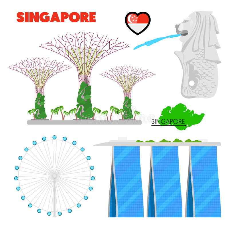 Singapur-Reise-Gekritzel mit Architektur stock abbildung