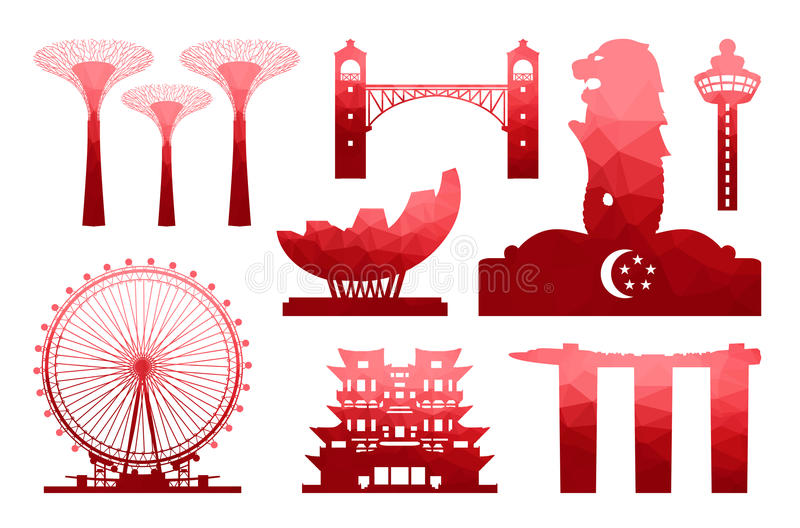Singapur-Reise-Ikone lizenzfreie abbildung