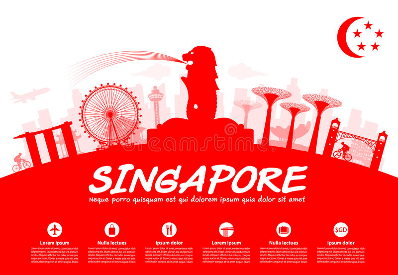 Singapur-Reise-Marksteine stock abbildung