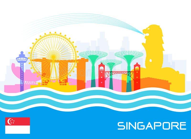 Singapur-Reise-Marksteine lizenzfreie abbildung
