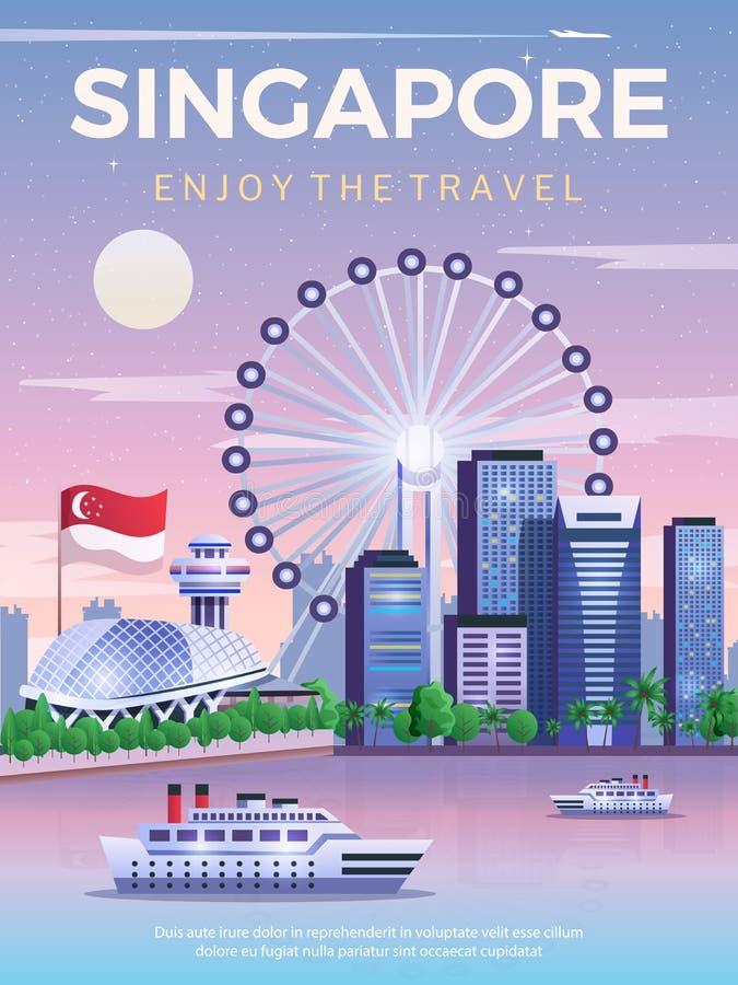 Singapur-Reise-Plakat lizenzfreie abbildung