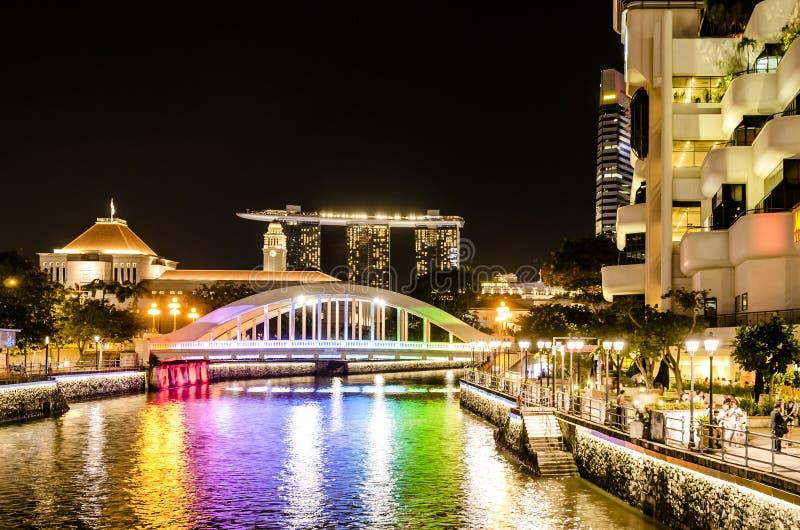 Singapur ` s most nocą zdjęcia stock