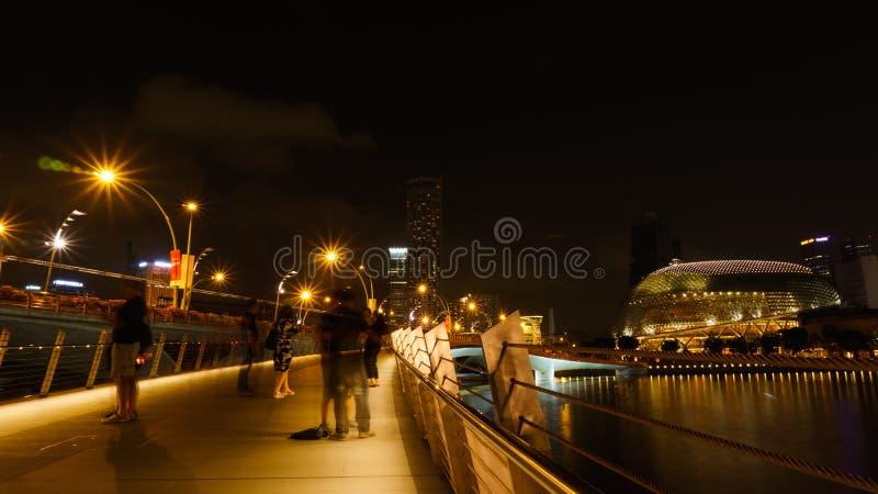 Singapur, Sierpień - 11, 2015: Piękny światło Singapur landm zdjęcia stock