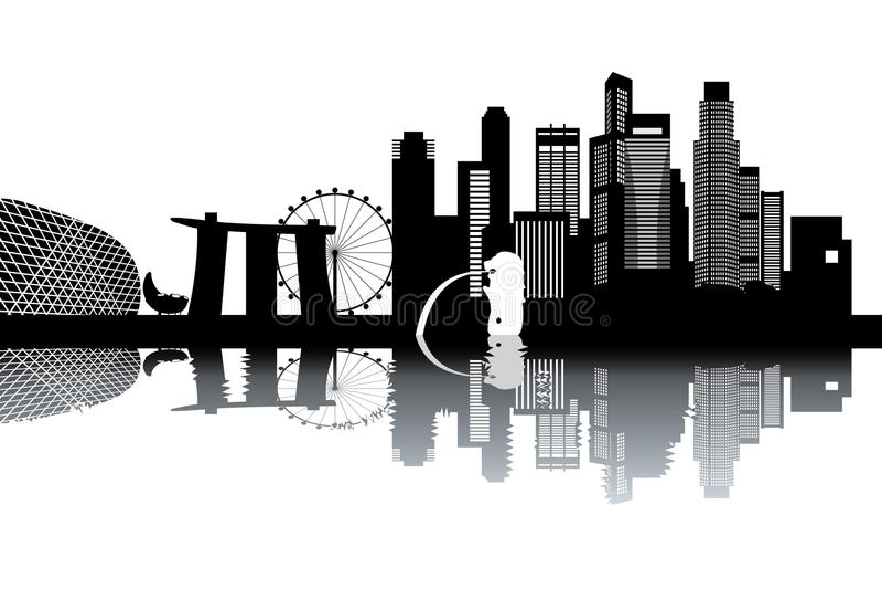 Singapur-Skyline lizenzfreie abbildung