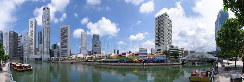 Singapur-Skyline Raffles Quay stockbilder