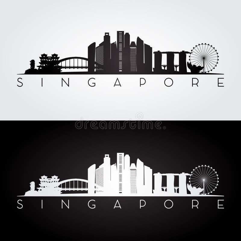 Singapur-Skyline und Marksteinschattenbild stock abbildung