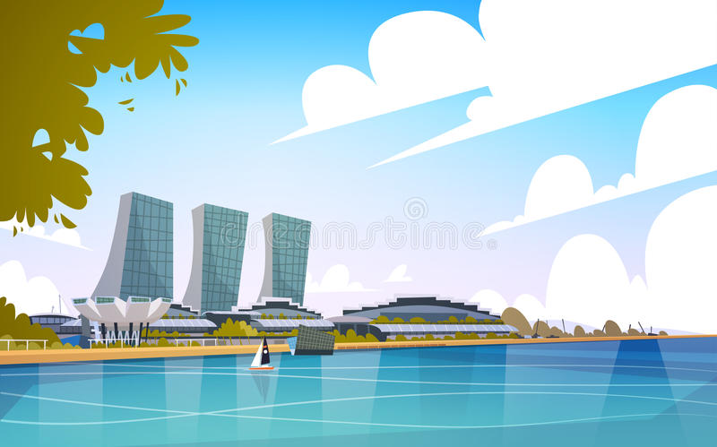 Singapur-Stadt-Ansicht-Wolkenkratzer-Hintergrund-Skyline-Stadtbild stock abbildung