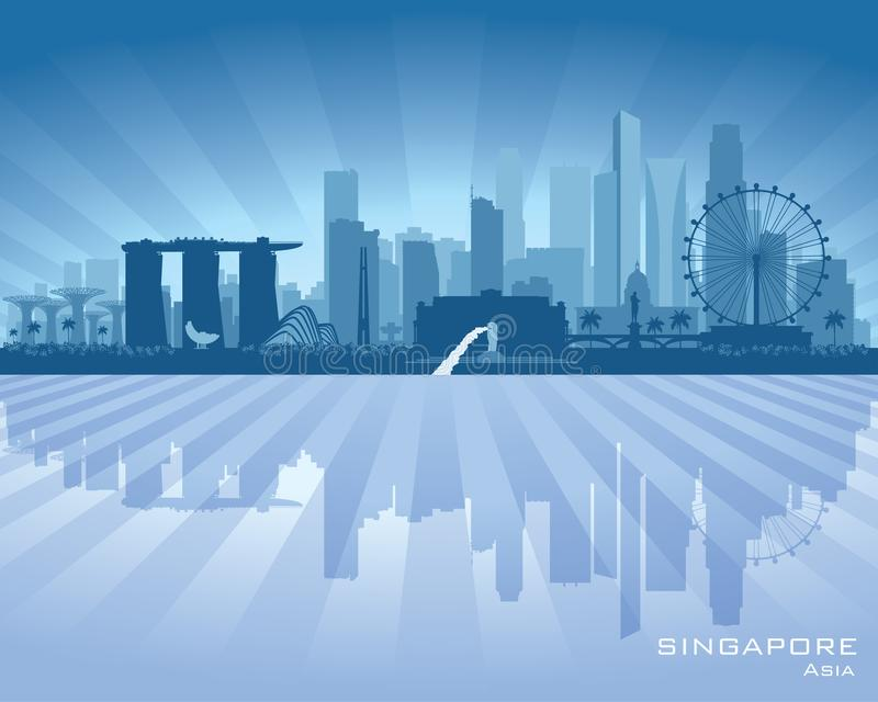 Singapur-Stadtskyline-Vektorschattenbild vektor abbildung