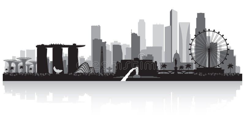 Singapur-Stadtskylineschattenbild vektor abbildung