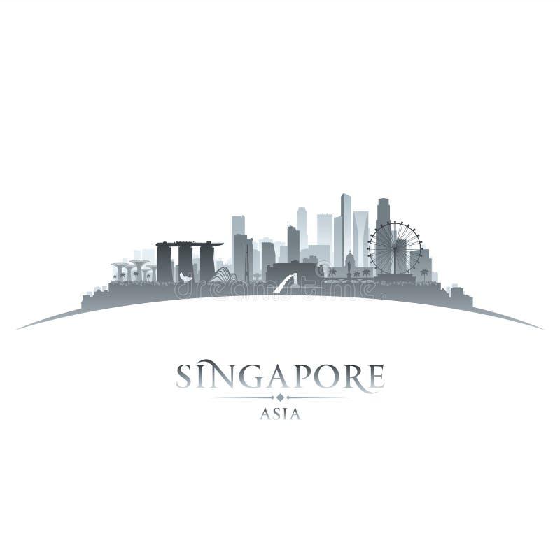 Singapur-Stadtskylineschattenbild-Weißhintergrund stock abbildung