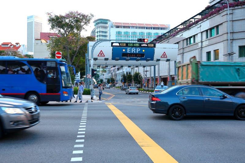Singapur: Tarificación por el uso de la infraestructura viaria electrónica imágenes de archivo libres de regalías