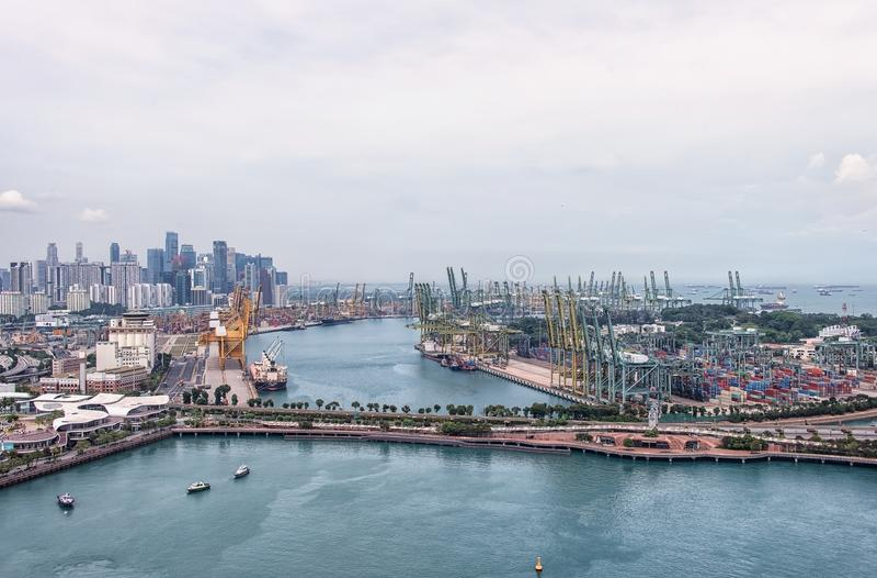 Singapur-Werbungshafen lizenzfreie stockfotos