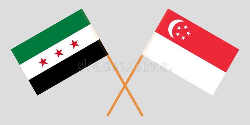 Singapur y gobierno provisional de Siria Las banderas del singapurense y de la coalición Colores oficiales Proporción correcta Ve ilustración del vector