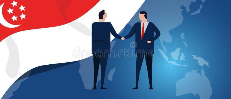 Singapur zawody międzynarodowi partnerstwo Dyplomaci negocjacja Biznesowego związku zgody uścisk dłoni Kraj flaga i royalty ilustracja