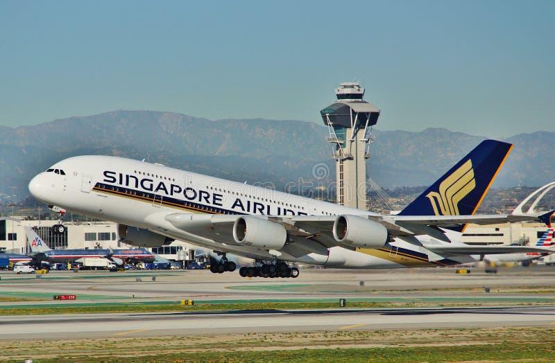 Singapura Airbus A380 parte Los Angeles fotos de stock