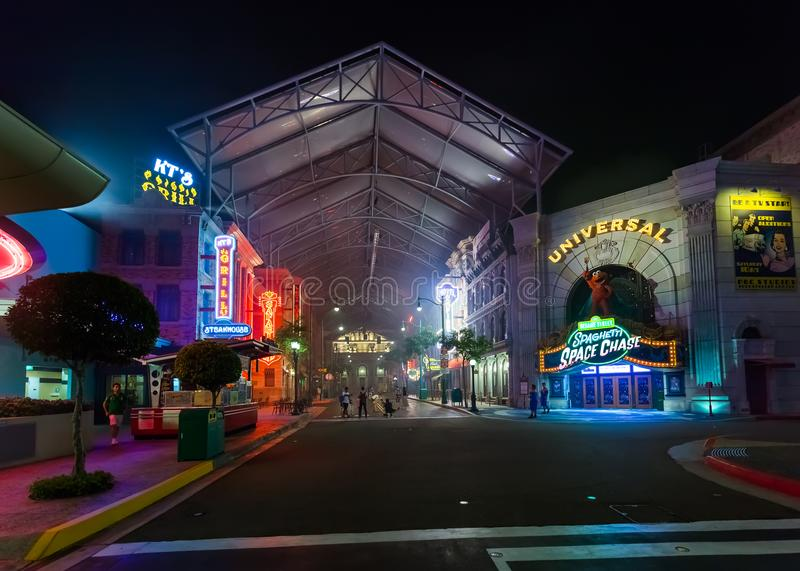 SINGAPURA - 30 de abril: Parque do estúdio universal na ilha de Sentosa dentro imagens de stock royalty free