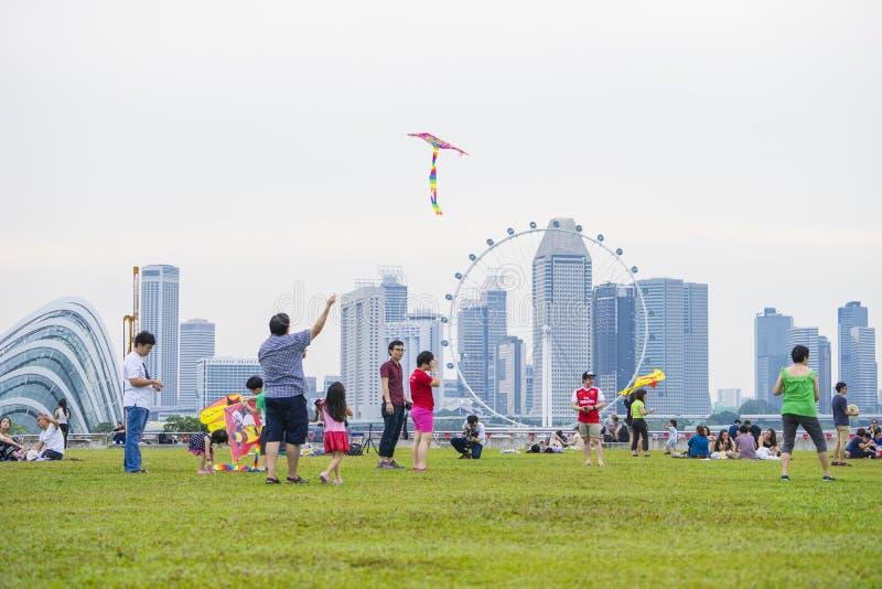 SINGAPURA - 6 de agosto: Festival do papagaio, um recolhimento para o enthus do papagaio imagem de stock royalty free