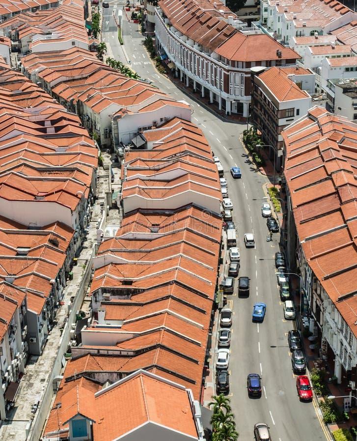 Singapura 22 DE JULHO DE 2017: Opinião aérea dos shophouses da área da cidade do bairro chinês de Singapura fotografia de stock