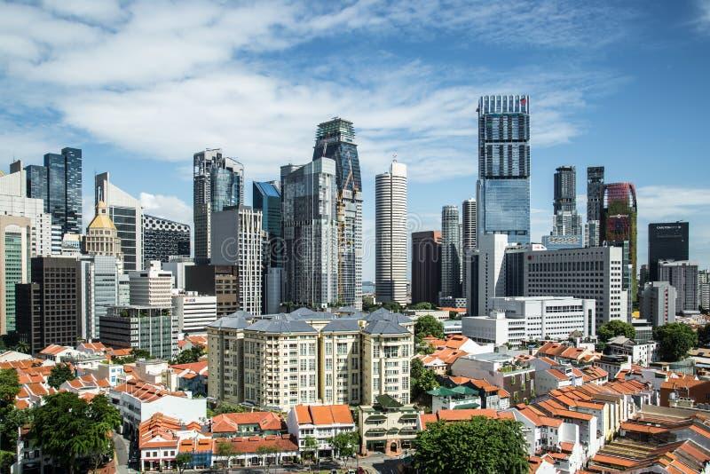 SINGAPURA 3 DE JUNHO DE 2017: Opini?o a?rea do centro de ?rea de n?cleo de Singapura imagens de stock royalty free