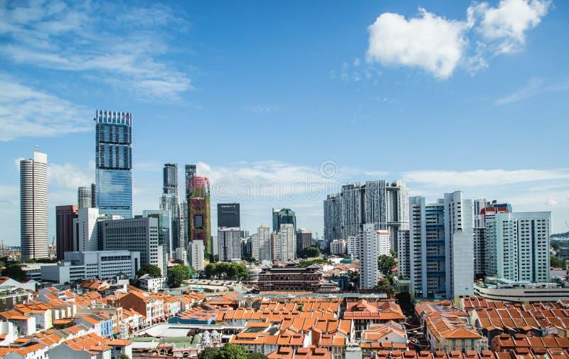 SINGAPURA 3 DE JUNHO DE 2017: Opini?o a?rea do centro de ?rea de n?cleo de Singapura fotos de stock