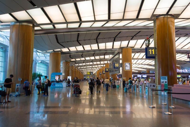 Singapura - 19 de novembro de 2017: Aeroporto internacional Ter de Changi imagem de stock royalty free