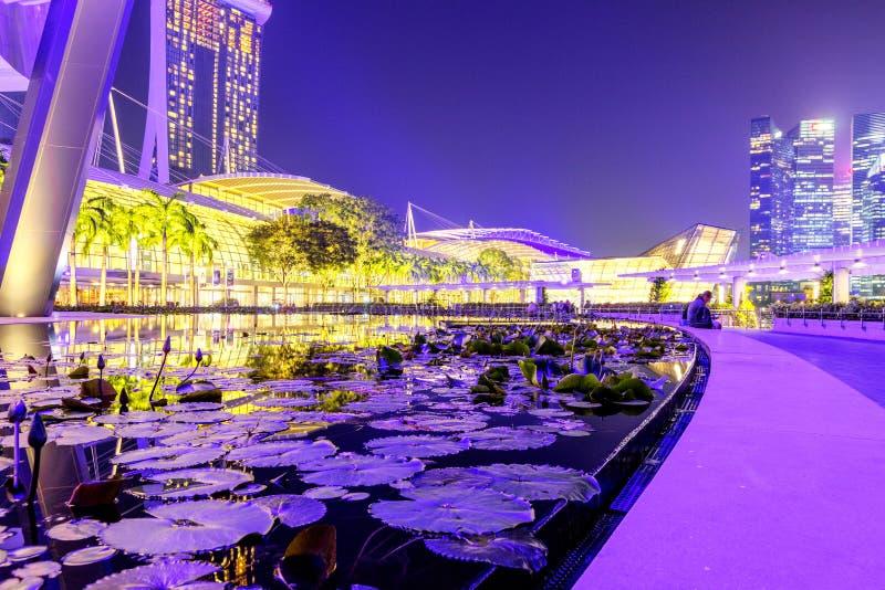 Singapura, o 29 de setembro: Opinião da noite no distrito financeiro em Singapura Skyline de Singapore na noite Vista na noite Ma fotografia de stock royalty free