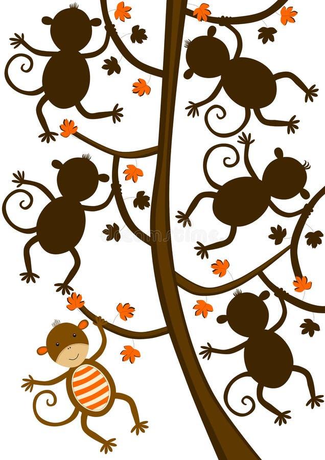 Singe accrochant sur le jeu de forme de silhouette d'arbre illustration libre de droits