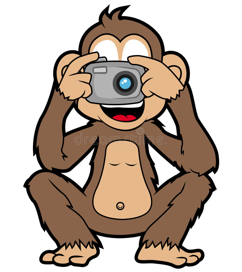 Singe avec l'appareil-photo images stock