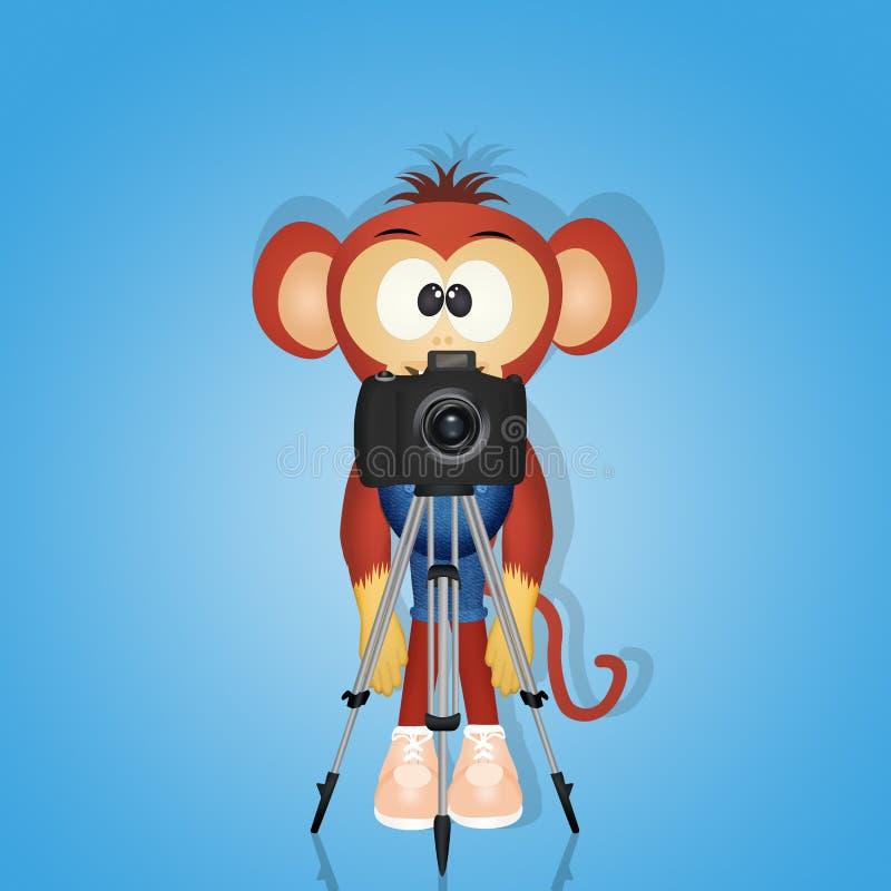 Singe avec l'appareil-photo sur le trépied illustration de vecteur