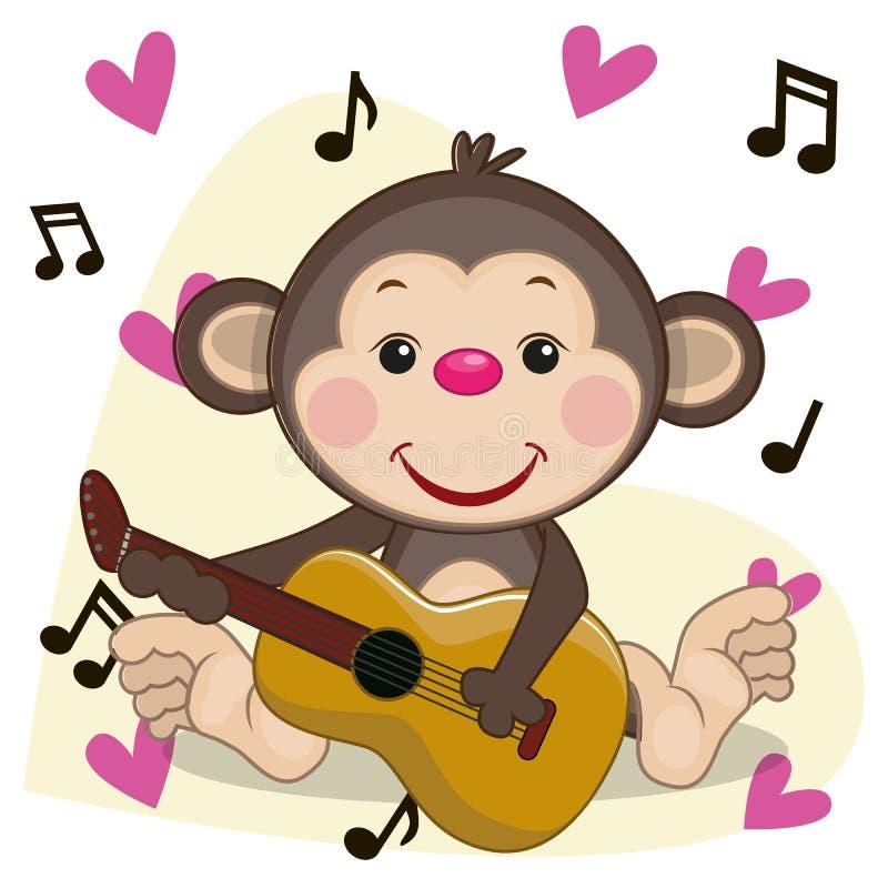Singe avec la guitare illustration stock