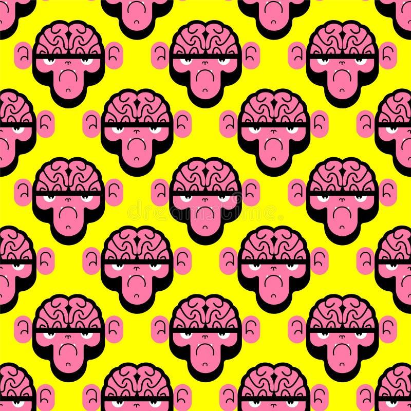 Singe avec le modèle de cerveau sans couture Gorille avec le fond de cerveaux Texture de vecteur illustration libre de droits