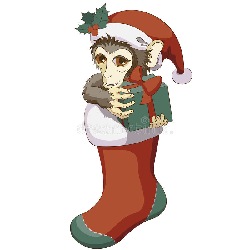 Singe dans le bas de Noël avec un cadeau illustration libre de droits