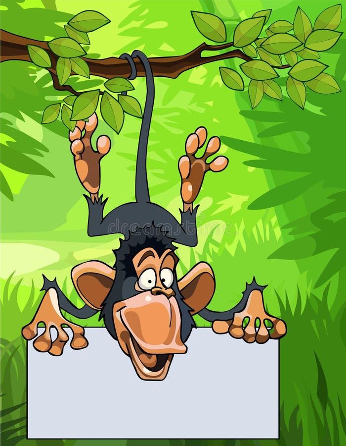 Singe de bande dessinée accrochant sur une branche avec un signe vide illustration stock