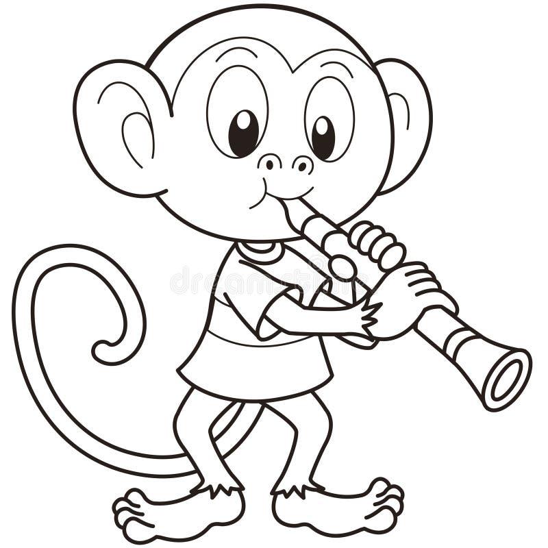 Singe de bande dessinée jouant une clarinette illustration stock