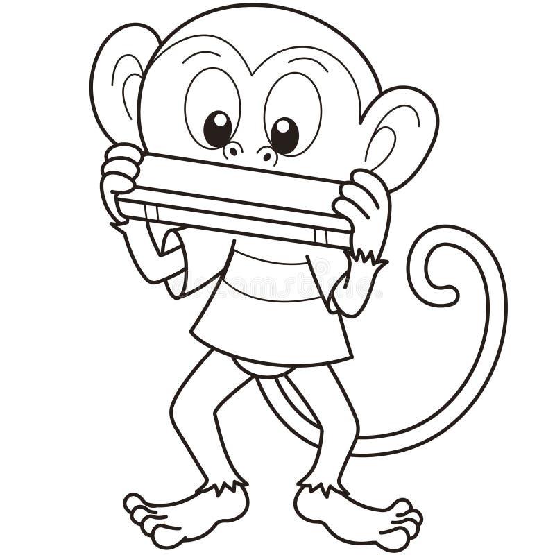 Singe de bande dessinée jouant un harmonica illustration stock