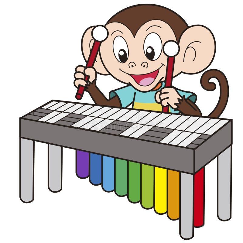 Singe de bande dessinée jouant un vibraphone illustration libre de droits