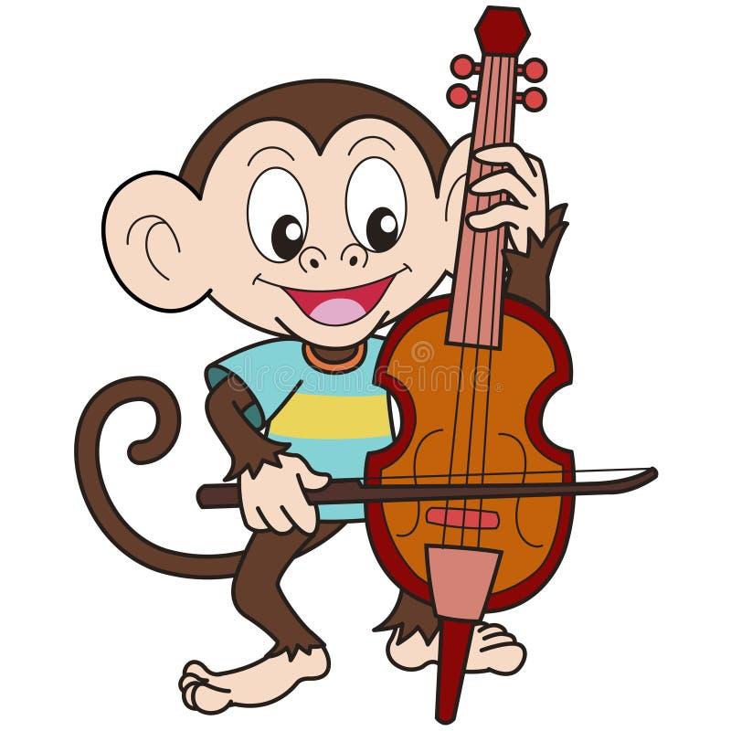 Singe de bande dessinée jouant un violoncelle illustration libre de droits