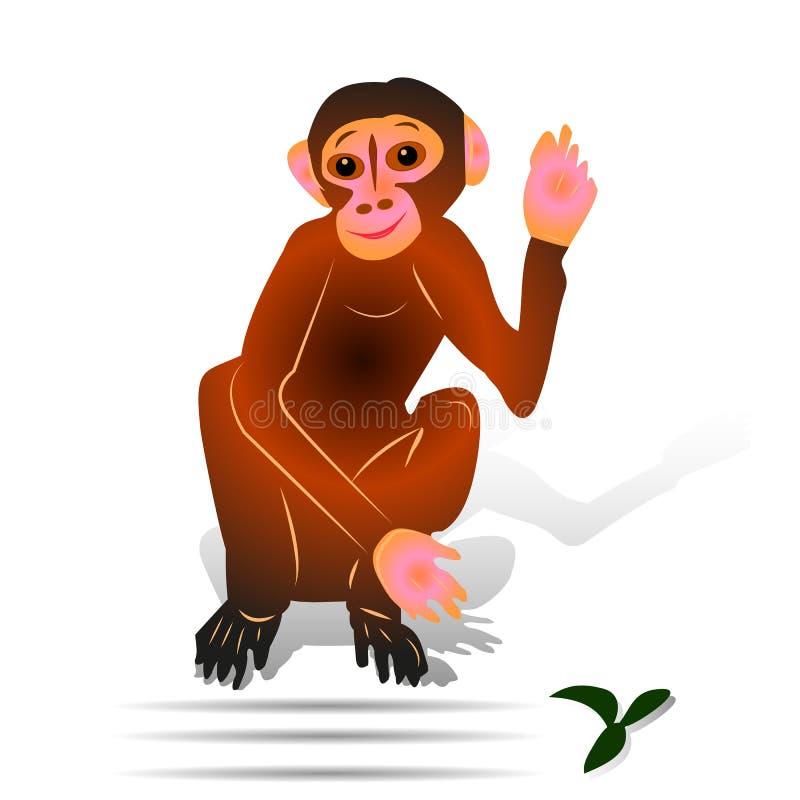 Singe de Brown se reposant avec le geste de main augmenté, salut, bande dessinée dessus illustration stock