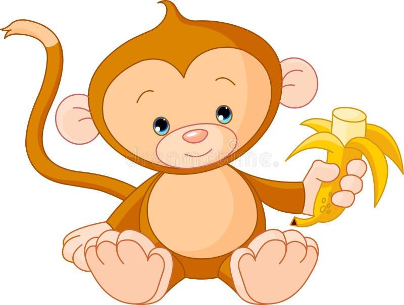 Singe de chéri mangeant la banane illustration de vecteur