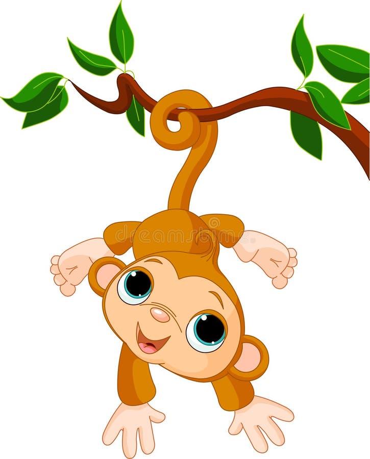 Singe de chéri sur un arbre illustration libre de droits