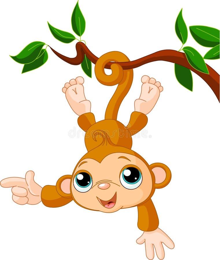 Singe de chéri sur une apparence d'arbre illustration de vecteur