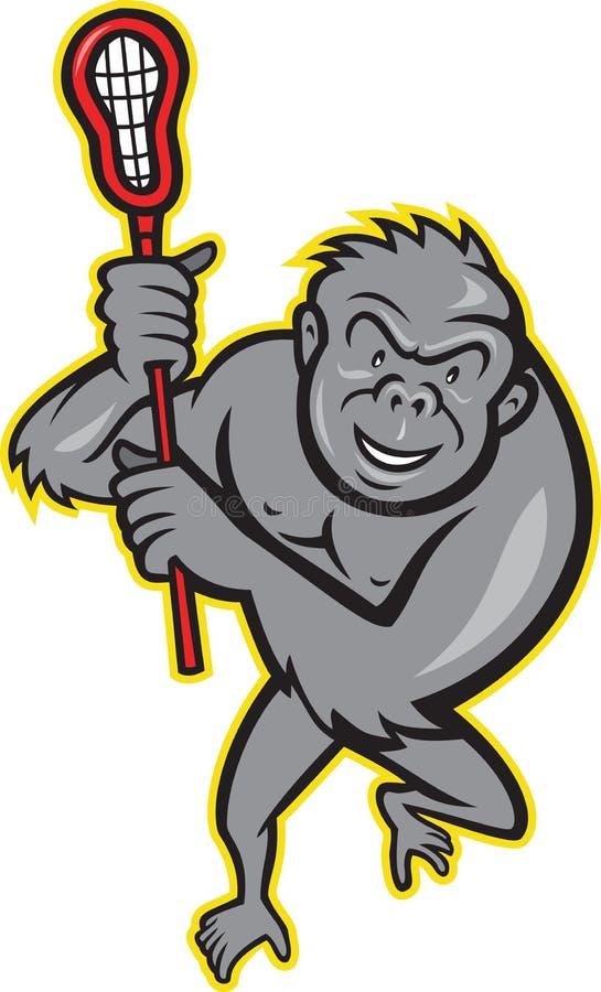 Singe de gorille avec la bande dessinée de bâton de lacrosse illustration libre de droits